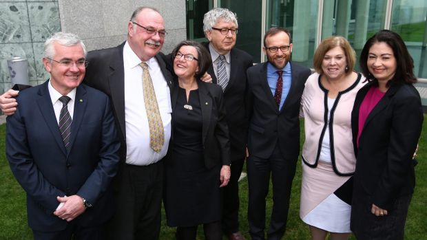 Warren Entsch with other MPs after he introduced a private member's bill on marriage equality with co-sponsers Andrew ...