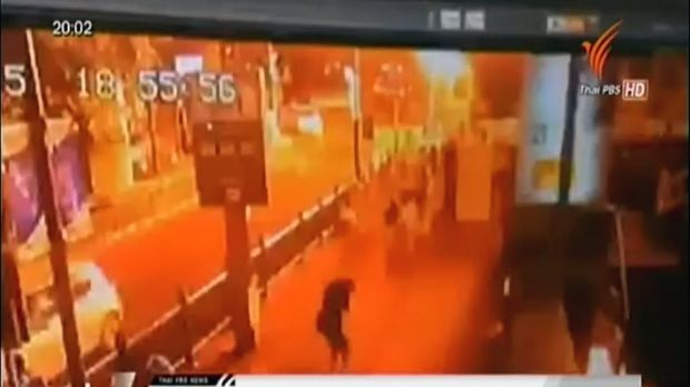 This image taken from security footage provided by Thai PBS shows the moment of an explosion in central Bangkok. It ...