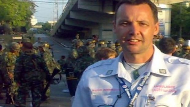 New Zealand-born Marko Cunningham arrived first at the scene of the Bangkok bomb explosion.