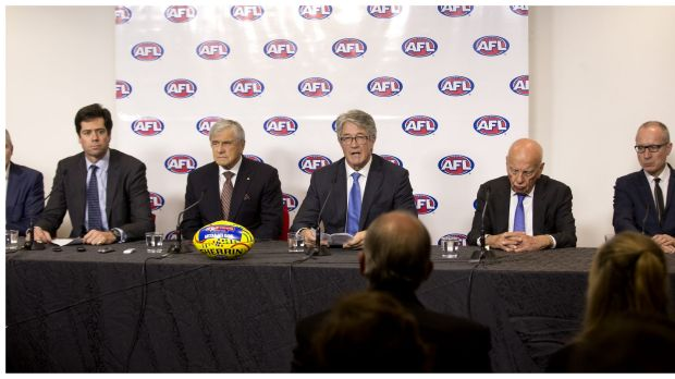 AFL chief executive Gillon McLachlan with (left to right) Kerry Stokes, AFL chairman Mike Fitzpatrick, and Rupert ...