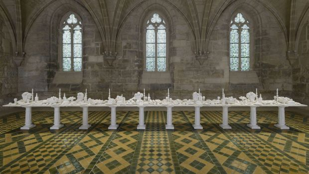 <i>The Last Supper</i> is a nine-metre table made from more than a tonne of groundwater salt.