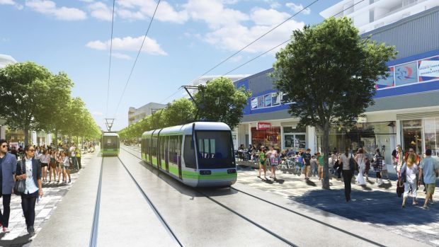 An artist's impression of the Gungahlin interchange of Canberra's proposed light rail network, which will travel past ...