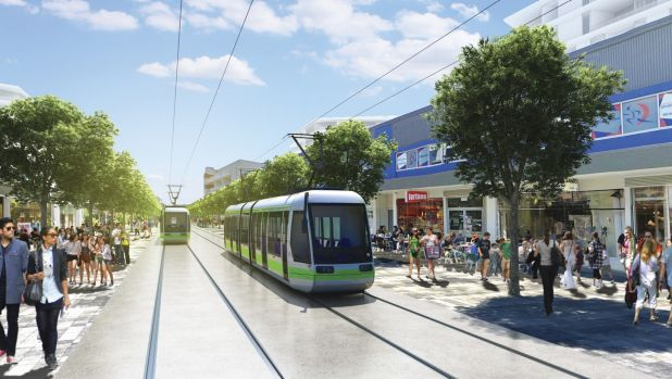An artist's impression of the Gungahlin interchange of Canberra's proposed light rail network.