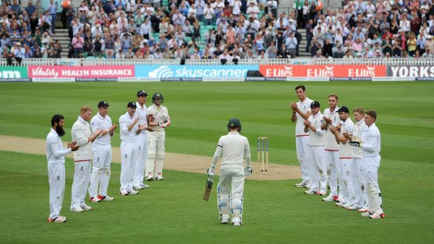 England players form a guard of honour for Australian captain Michael Clarke.