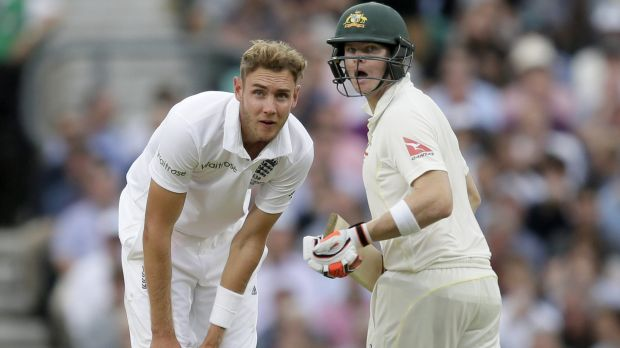 England's Stuart Broad and Australia's Steven Smith watch the ball.