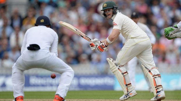 Approaching his century ... Steven Smith battled hard to  reach 78 at the end of the first day.