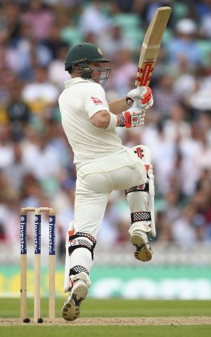 David Warner in action on a slow but steady day for Australia.