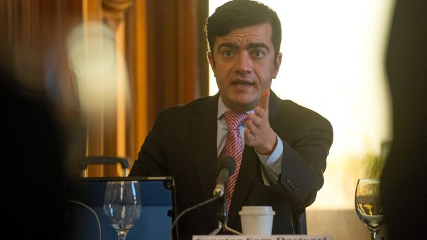 Labor Senator Sam Dastyari at the Melbourne hearing of the Senate inquiry into corporate tax avoidance in April, when ...