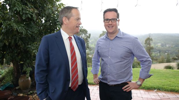 Opposition Leader Bill Shorten pictured with the ALP's candidate for Canning Matt Keogh during a visit to the electorate ...