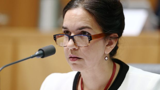 """Tasmanian senator Lisa Singh, pictured during an estimates hearing at Parliament House, has signed the """"pollution free ..."""
