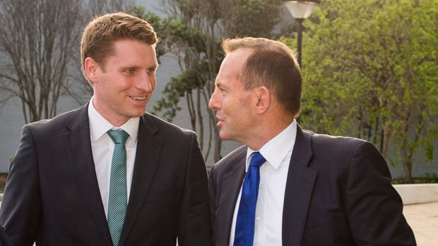Prime Minister Tony Abbott with Liberal candidate Captain Andrew Hastie  outside the <i>West Australian</i> newspaper ...