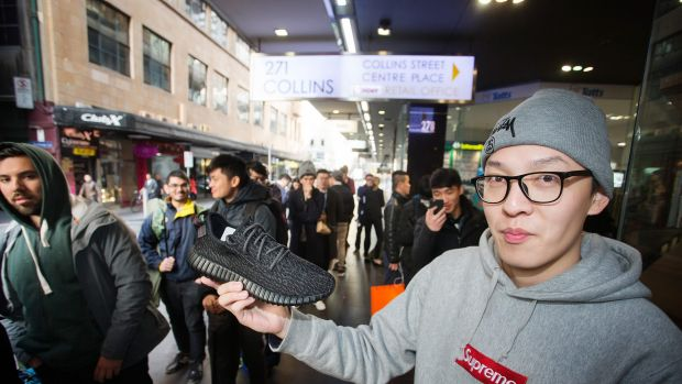 Tyreke Chen camped outside Incu shoe store on Flinders Lane since Wednesday to be one of the first buyers of the Kanye ...