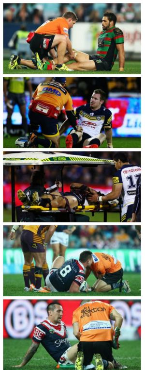 The injury reel: Inglis, Morgan, Tamou, Waerea-Hargreaves and Pearce.