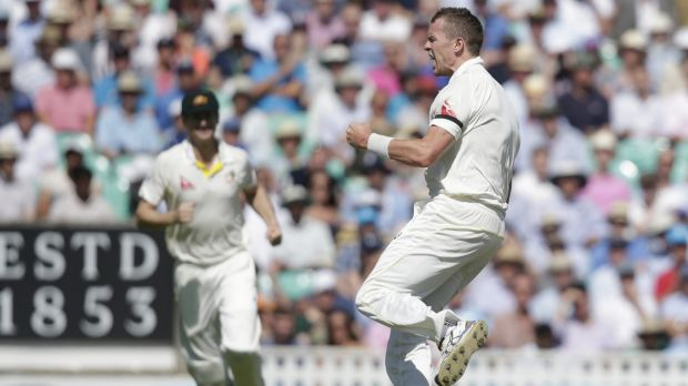 Jubilant: Australia's Peter Siddle celebrates after taking the wicket of England's Adam Lyth.