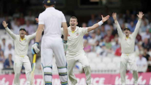 Australia's Peter Siddle appeals for an lbw against Mark Wood on the fourth day of the fifth Ashes Test.