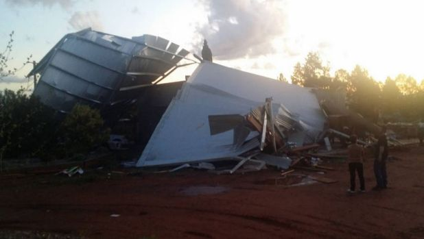 Trail of destruction: A damaged shed following the tornado in Dubbo.