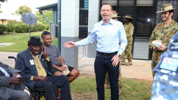 Tony Abbott and Palm Stephen during a medal presentation for veterans on Thursday Island.