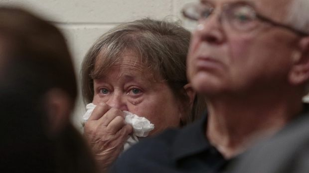 The grandmother of Conrad Roy III weeps as she listens to the defence attorney arguing for the involuntary manslaughter ...