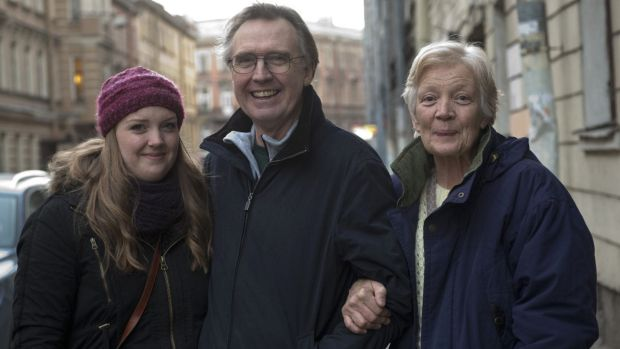 Australian Greenpeace activist Colin Russell,  with his wife Christine Russell and daughter Madeleine after his release ...