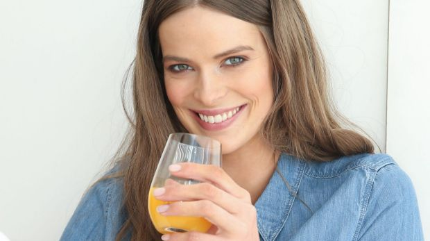 Friend or foe: Robyn Lawley likes her juice.