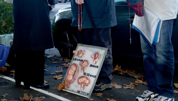 Pro life protesters outside the Fertility Control Clinic in East Melbourne earlier this year.