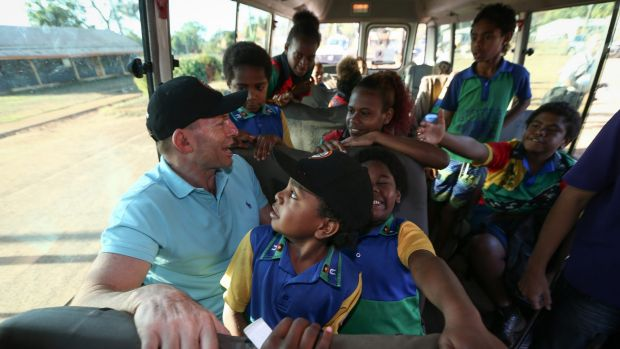 Prime Minister Tony Abbott joins the Remote School Attendance Strategy bus.