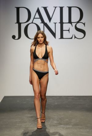 Jesinta Franklin making her catwalk (and swimsuit) debut for David Jones in 2015. This will be her fifth launch for the ...
