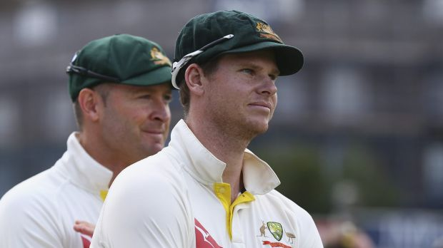 Baton change: Steve Smith and Michael Clarke watch the presentation following the final Ashes Test.
