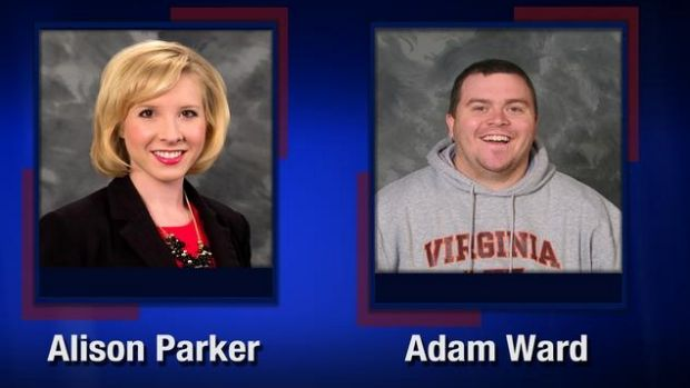 """WDBJ7 released this photo of Alison Parker and Adam Ward with the words """"We love you, Alison and Adam."""""""