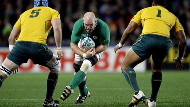 Bowing out: Paul O'Connell takes on the Wallabies defence at Eden Park during the 2011 World Cup.