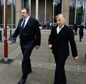 Shaun McNeil's mother and step-father, Sharon and Liam McCormack, leave court.