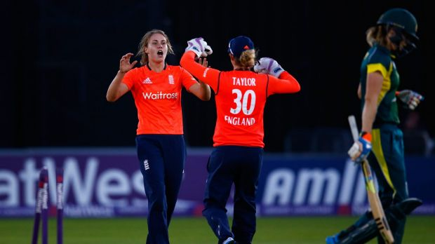 Natalie Sciver of England celebrates the wicket of Ellyse Perry at Chelmsford.
