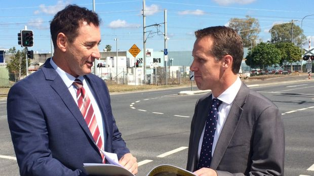 Brisbane councillor Steve Griffiths and Labor lord mayor candidate ,Rod Harding at Corner of Orange Grove & Boundary ...