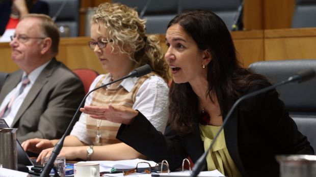 Pushed aside by union numbers: Labor senator Lisa Singh during a Senate estimates hearing.