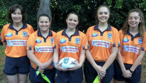 Girl power: The all-female referees line-up for the Balmain Junior Rugby League grand finals.