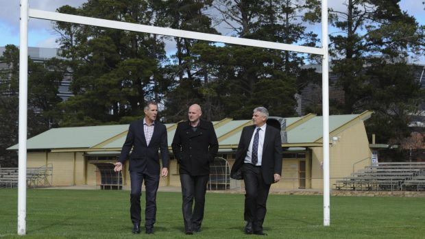 Raiders chief executive Don Furner, PCYC chief executive Stephen Imrie and Raiders general manager Mark Vergano at ...