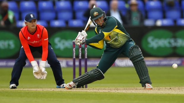 Australia's Grace Harris winds up to hit a six, one of three that she got during her innings of 24, the joint top score ...