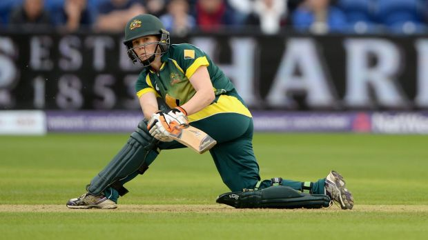 Australia's Alex Blackwell sweeps during the final T20 against England in Cardiff on Monday.