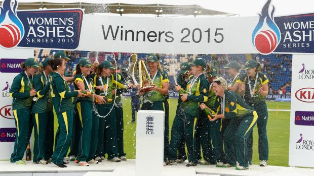 The Southern Stars  celebrate with the Ashes trophy after the third T20 ended in Cardiff on Monday.