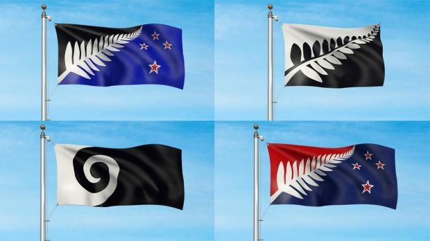 The original four: silver ferns, with and without stars, and Koru (Black).