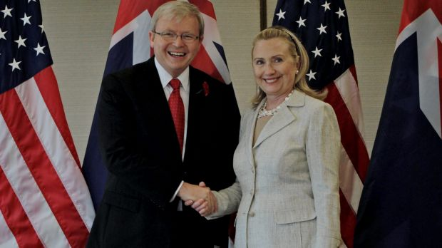 Kevin Rudd and Hillary Clinton in November 2011.