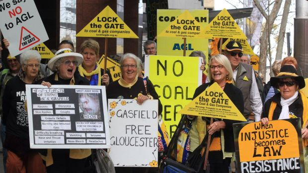 Anti-CSG protesters mark 100 weeks of opposition to AGL's gas drilling.