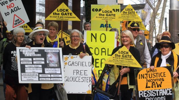 Protesters outside AGL's offices in North Sydney gathered every week for more than two years.