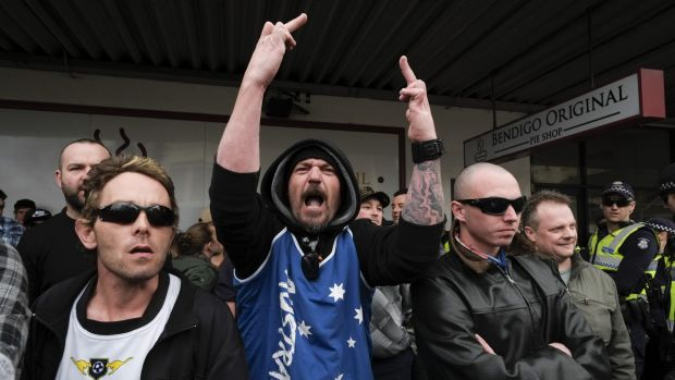 A United Patriots Front member at the Bendigo mosque protest in August. The hardline group, instrumental in organising ...
