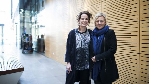 Actor Sigrid Thornton and the writer of ABC series <i>The Code</i>, Shelley Birse, on set in the NICTA building in Acton.