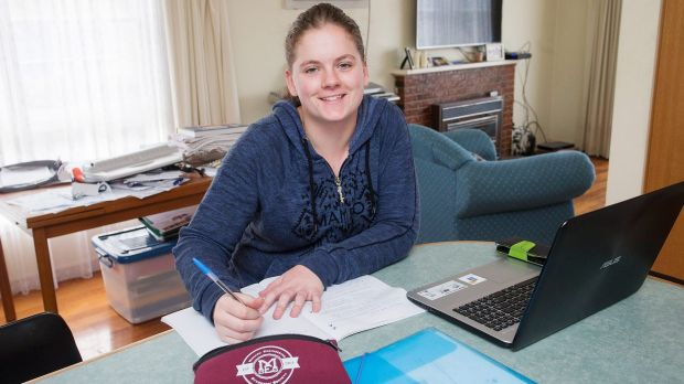 Maddy Barnewall uses banking and budgeting apps to help keep track of her money. Photo: Paul Jeffers