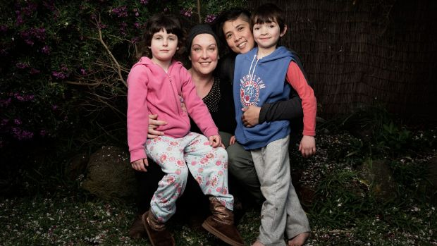Same-sex couple Anna Viola and Belle Austriaco with their children Lily, 5, and Benji, 6, at home in Northcote.