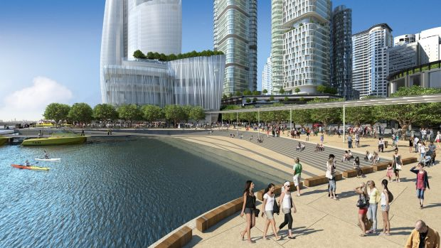Artist's impression of Crown Sydney at Barangaroo, designed by Wilkinson Eyre Architects.