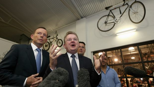 Mr Billson with then prime minister Tony Abbott during a visit to Celestino Cafe in Fyshwick, Canberra.
