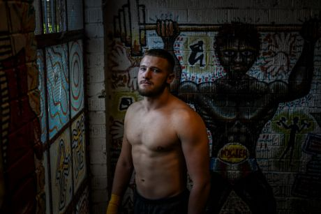 Redemption: Joshua Smart trains at the Elouera-Tony Mundine gym in Redfern following his release from jail.